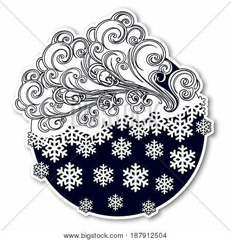 Fairytale style winter festive sticker. Curly ornate clouds with a falling snowflakes. Weather forecast icon. Christmas mood.Black and white. EPS10 vector illustration