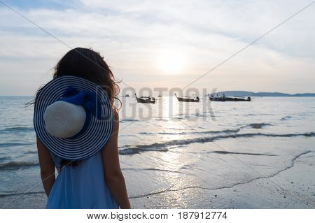 Woman Beach Summer Vacation, Young Girl Sea Sunset Back Rear View Ocean Holiday Travel
