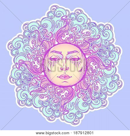 Decorative sticker. Fairytale style sun with a human face resting on a curly ornate clouds. Decorative element for tattoo textile prints or greeting card design. EPS10 vector illustration