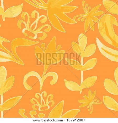 Watercolor pattern. Floral texture. Abstract floral background. Seamless texture. Flowers watercolors. National Ukrainian painting. Vector