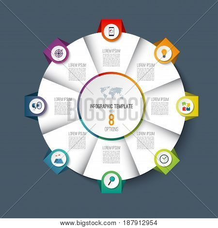 Infographic pie chart circle template with 8 options. Can be used as cycle diagram, graph, web banner, workflow layout