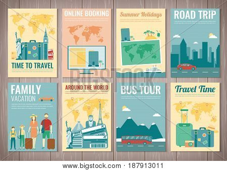 Travel and Tourism brochure set. Template of magazine, poster, book cover, banner, flyer. Vector illustration