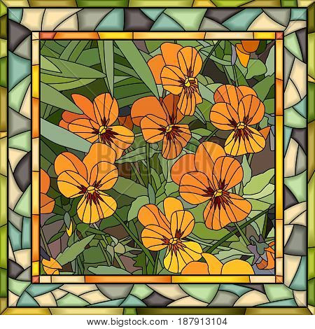 Vector mosaic of orange violet in square stained-glass window frame.