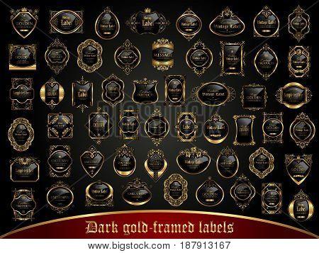 Large collection of dark gold-framed labels in vintage style