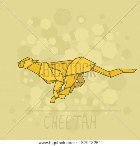 Vector simple illustration paper origami of cheetah.