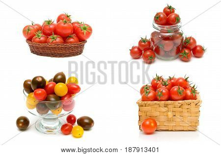 Ripe cherry tomatoes on a white background. Horizontal photo.