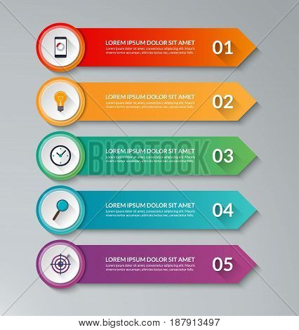 Infographic design template with 5 arrows. Can be used for diagram, graph, chart, web banner