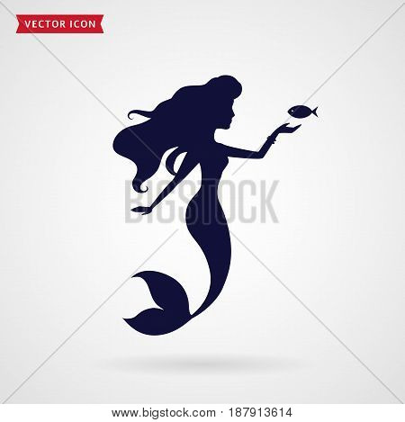 Mermaid silhouette on white background. Sea theme. Vector illustration.