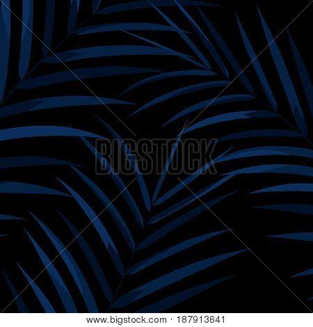 Dark exotic leaves background. Botanical leaves on dark background. Exotic background.