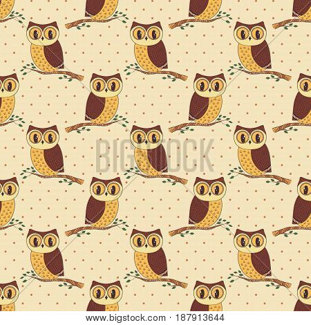 Seamless pattern with cute hand drawn owls and polka dots. Vector background in beige and brown colors.