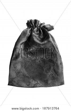Black satin closed purse on white background