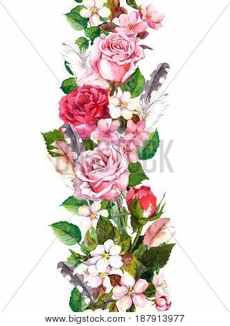 Floral border with apple or cherry flowers, sakura blossom, roses flowers and feathers. Watercolor seamless frame in boho style
