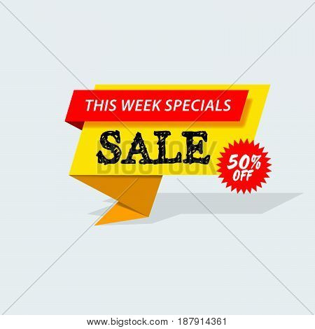 Sale promo banner with advertising announcement badge