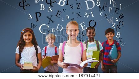 Digital composite of Multi ethnic children holding books with letters flying in background