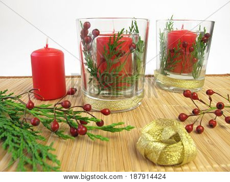 Making of candles decoration for christmas and advent time