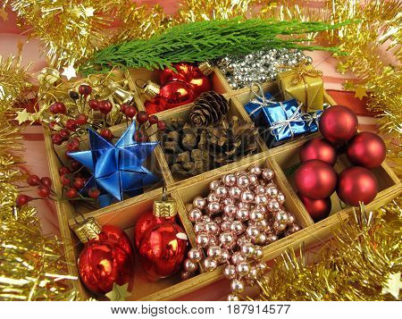 Wooden box with advent and christmas decoration