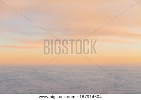 beautiful sunset above the clouds from aircraft 1