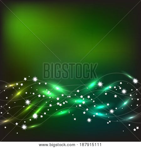 Abstract waves background. Bright illustration in green and yellow colors.