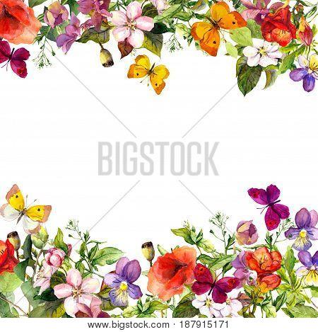 Spring, summer garden: flowers, grass, herbs and butterflies Floral pattern - vintage watercolor