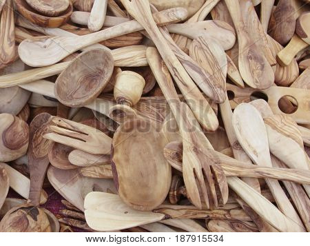 Spoons and forks of olive wood Spoons and forks of olive wood