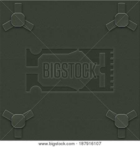 Industrial grunge background. Green metal plate with bolts and perforated section in the middle.