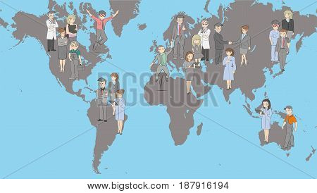A map of the world with the men on it. Hand drawn cartoon vector illustration for design and infographics.