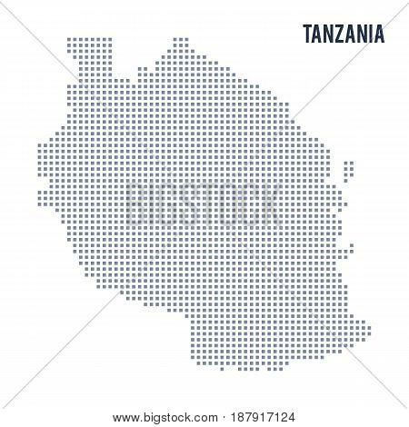Vector Pixel Map Of Tanzania Isolated On White Background