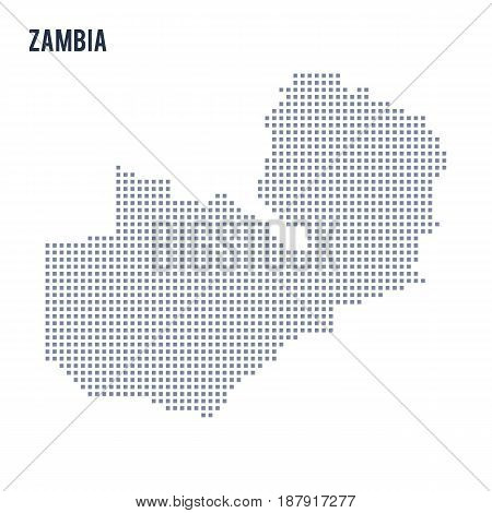 Vector Pixel Map Of Zambia Isolated On White Background