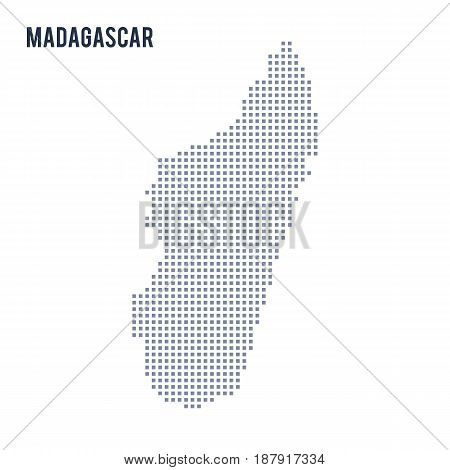 Vector Pixel Map Of Madagascar Isolated On White Background