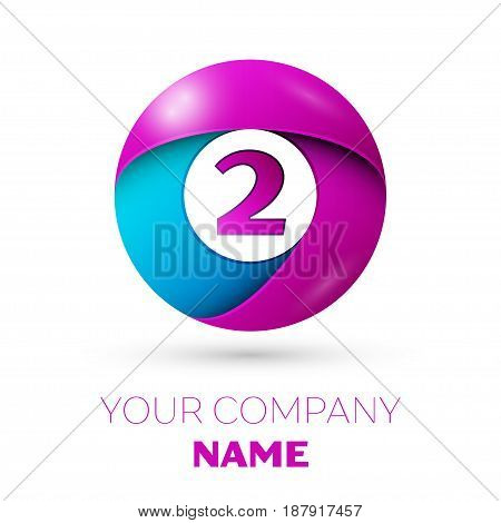 Number two vector logo symbol in the colorful circle on white background. Vector template for your design
