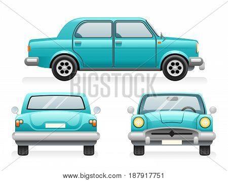 Front Back Side Point View Retro Car Set Icons Isolated Design Transport Clipart Symbols Vector Illustration