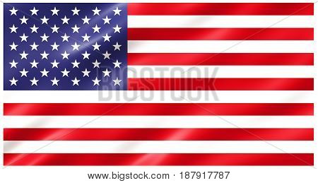 Slightly waving flag of the United States of America isolated on white background, 3D rendering.