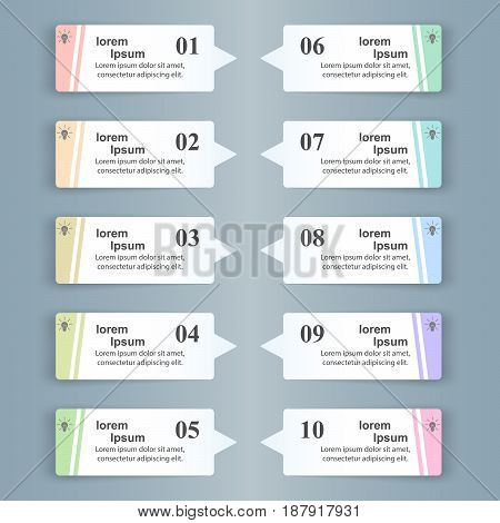 Infographic design template and marketing icons. List of 10 items.