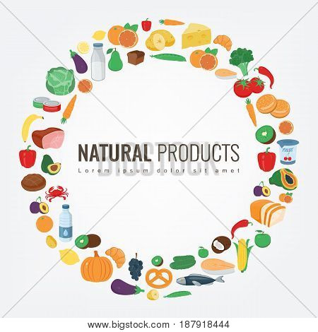Food and Drink. Fruits and vegetables. Healthy eating concept. Vector illustration