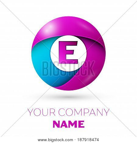 Letter E vector logo symbol in the colorful circle on white background. Vector template for your design