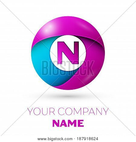 Letter N vector logo symbol in the colorful circle on white background. Vector template for your design