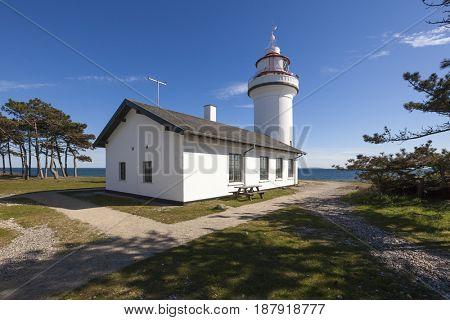 Lighthouse at Sletterhage on Helgenaes peninsula near Aarhus, Denmark