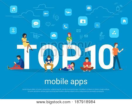 Top 10 mobile apps flat concept illustration of young people using smart phones for reading news and texting message to friends. Mobile apps rating blue banner for website and social networks blog