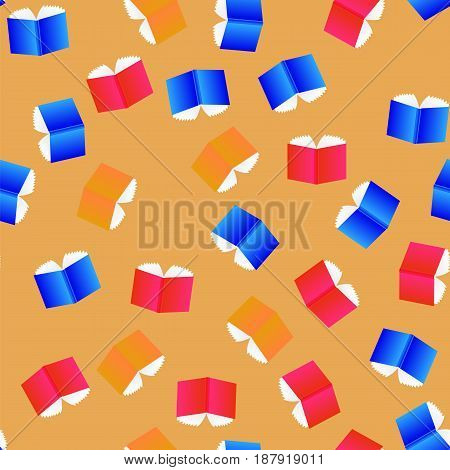 Open Colored Books Seamless Pattern Isolated on Orange Background
