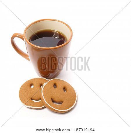 Coffee and cookie. Coffee break breakfast.