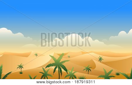 Desert panorama horizontal seamless pattern. Deserts rough terrain horizon landscape with sand dunes and palm trees vector illustration