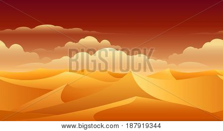 Sahara sand dunes panorama. Desert safari orange empty enviroment vector background