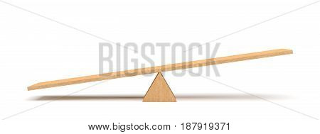 3d rendering of a light wooden seesaw with the left side leaning to the ground on white background. Geometrical shapes. Saving balance. Scales.