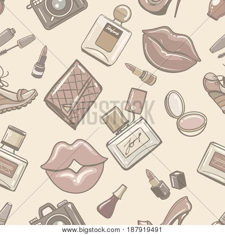 Vintage fashion female seamless pattern for boutique perfume fall paper. Retro paris fashionable wallpaper. Vector illustration