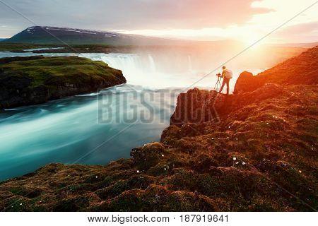 Godafoss waterfall on Skjalfandafljot river, Iceland, Europe.