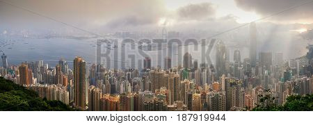 Hong Kong city skyline panorama, victoria peak view