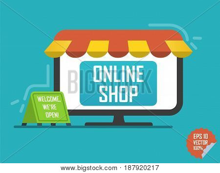 Online Shop Illustration. Laptop With Awning For Website Or Mobile Application.