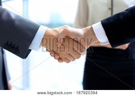Business handshake. Success communication or meeting concept