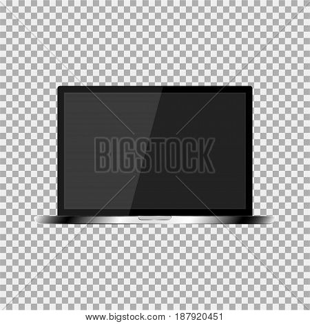 Realistic Laptop With A Dark Screen On The Transparent Background. Stylish, Modern, Trendy Laptop.