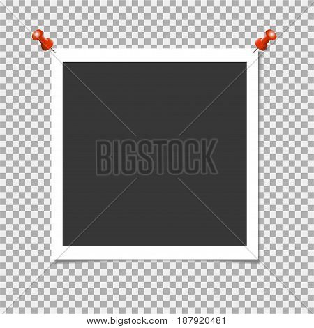 Photo Frame With Red Pin On Isolate Background. Vector Template For Your Trendy And Stylish Photo Or
